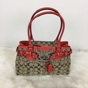 Coach Signature Satchel Orange Handbag